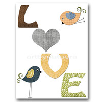"Baby Boy Nursery art print Childrens Wall Art Baby Room Decor Nursery Decor Kids Print Boy Baby Wall Art 8"" x 10"" love birds grey yellow"