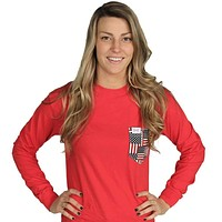 The Betsy Long Sleeve in Vermillion Red with American Flag Pocket by the Frat Collection