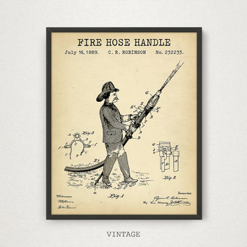 Fire Hose Patent Printable, Fireman Poster, Firefighter Print, Firefighting Blueprint Wall Art, Fireman Gift, Fire House Decor, Vintage Art
