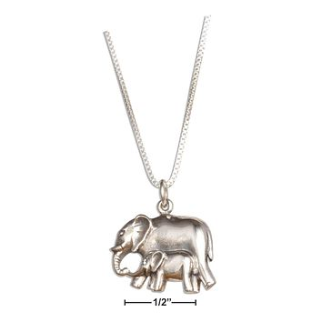 """Sterling Silver Necklace:  18"""" Elephant Mother And Baby Pendant Necklace"""