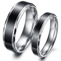 (Male+Female)Cool Retro Simple Black 316 l Stainless Steel Titanium Wedding Band Anniversary/Engagement/Promise/Couple Ring Best Gift! = 1929846788