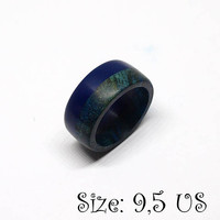 Size 9,5 US, Blue ring, Wood ring, Corian ring, Wooden ring, Blue wood ring, Wood jewelry, Band ring, Wood band ring, Men ring, Men jewelry