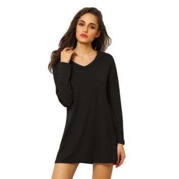 Black V-Neck Long Sleeve Slim Dress