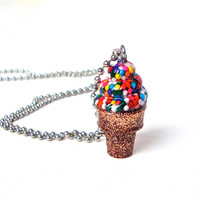 Adorable ice cream cone necklace - candy sprinkle resin ice cream cone pendant - kids jewelry - kawaii pendant by Sparkle City Jewelry