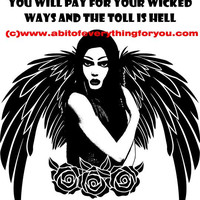 avenging gothic angel wicked people quotes printable art print original  digital download graphics images fantasy dark artwork