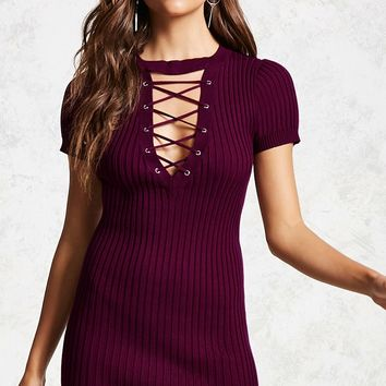 Lace-Up Ribbed Mini Dress - Women - 2000114604 - Forever 21 Canada English