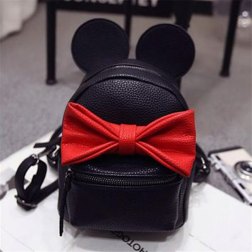 2017 Hot Baby Girls Backpack Cartoon Cute Bowknot Minnie Kids Backpacks Princess Mini Bag Bow Mouse Ears Black Pink Lavender