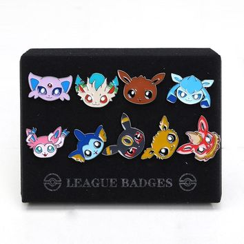 9pcs/set Pokemon Badges Brooch Small Eevee Sylveon Flareon Glaceon Umbreon Zinic Alloy Brooch Action Figures Toys