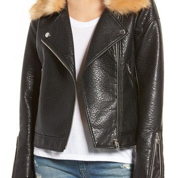 BLANKNYC Faux Fur Collar Faux Leather Moto Jacket | Nordstrom