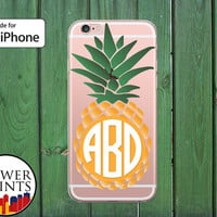 Pineapple Monogram Initials Custom Summer Fruit Clear Case iPhone 5/5s and 5c and iPhone 6 and 6 Plus + and iPhone 6s iPhone SE and iPhone 7