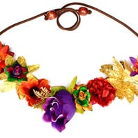 MARDI GRAS Flower Headband Floral Headpiece Hippie Halo Unique Purple Gold Green Metallic Party Flower Crown Mardi Gras Costume Accessory