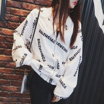 ONETOW balenciaga women fashion casual logo letter print loose long sleeve zip cardiga