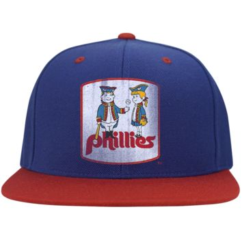 Retro Phillies Inspired Phil and Phyllis Flat Bill High-Profile Snapback Hat