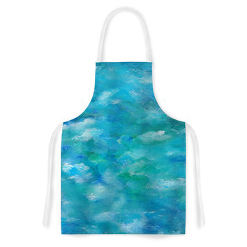 "Rosie Brown ""Ocean Waters"" Blue Aqua Artistic Apron"