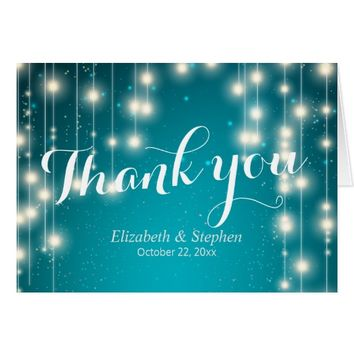 Elegant Turquoise String Lights Wedding Thank You Card