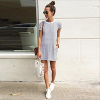 ♡ Women Casual Loose Striped Bodycon Mini Dress ♡