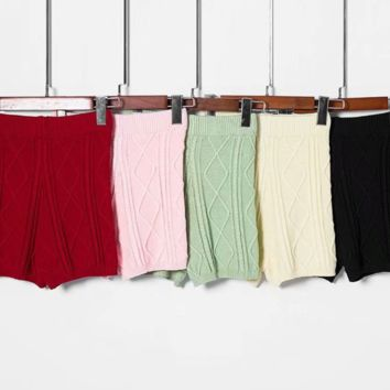 FREE SHIPPING Summer slim-cut, high-waisted string and hemp knit shorts hot pants