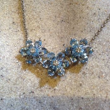 Vintage genuine deep Blue Topaz 925 Sterling Silver Flower Necklace pendant