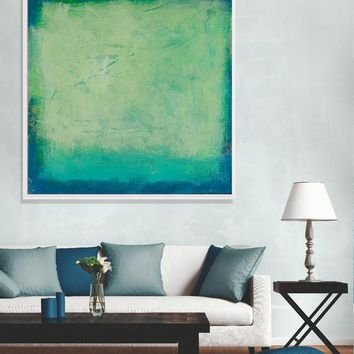 Green Abstract Landscape Painting Blue and Turquoise Original Painting on Canvas Contemporary Abstract Art Wall Decor Texture Painting