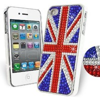 Femeto UK Union Jack Rhinestone Diamante Case for Apple iPhone 4S / iPhone 4 with Screen Guard: Cell Phones & Accessories