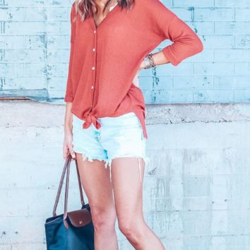 Waffle Button Down Tie Top