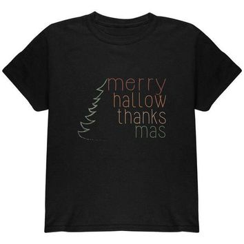 ESBGQ9 Halloween Thanksgiving Christmas Merry Hallow Thanks Mas Youth T Shirt