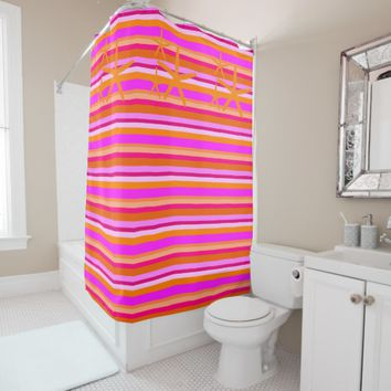 Fuchsia & Orange Stripes Starfish Shower Curtain