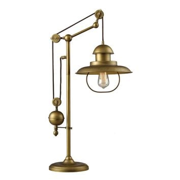 65100-1 Farmhouse 1 Light Adjustable Table Lamp In Antique Brass
