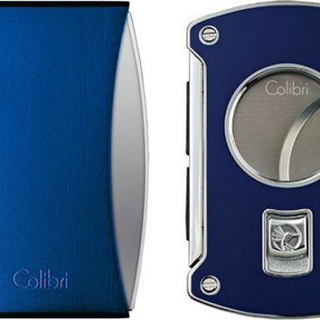 Colibri Eclipse Blue Lighter and Slyce Blue Cigar Cutter Gift Set