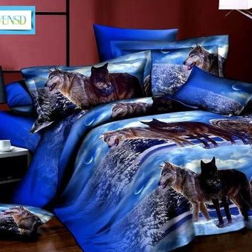 BEST.WENSD 3D beddings and bed sets 4pc king size lion wolf Tiger rose duvet cover comforter bedspread dekbedovertrek 2 persoons