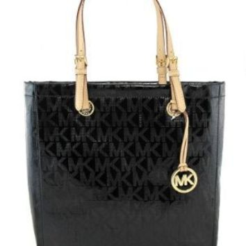 Michael Kors Jet Set NS Item MK Signature Mirror Metallic Black