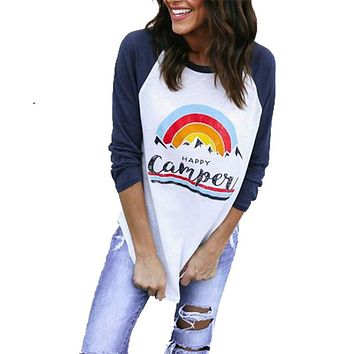 Women T-Shirts 2017 Casual Long Raglan Sleeve O Neck Patchwork CAMPER print  Loose Pullover Tee Shirt Ladies Clothes FC194