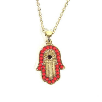 Red Hamsa Necklace Hand of Miriam Evil Eye Gold Tone NA39 Vintage Judaica Protection Amulet