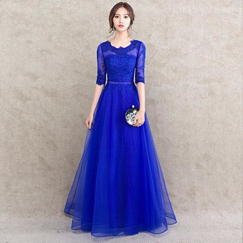 PotN'Patio Half Sleeve Royal Blue Bridesmaid Dress Long Floor-Length Plus Size 2017 New Arrival