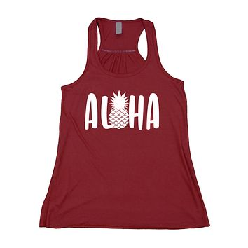 Aloha Tank Top Vacation Hawaii Pineapple Beach Flowy Racerback Tank