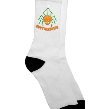 Cute Pumpkin Spider - Happy Halloween Adult Crew Socks -