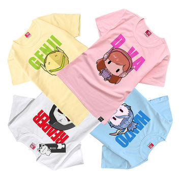 4 Heroes Kawaii Women Pink Dva Short Sleeve T Shirt Female Tee Ladies T-shirt Girls Genji Reaper Hanzo T-shirt Brooch As Gift