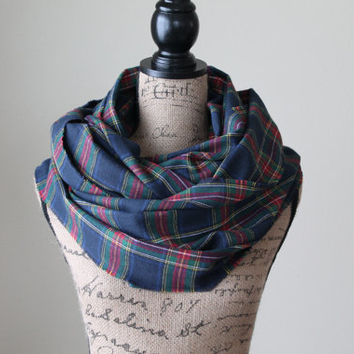 Navy Blue Plaid Infinity Scarf, Tartan Plaid Scarf, Winter Scarf, Womens Scarf, Mens Scarf, Valentine's Day Gift, Circle Scarf