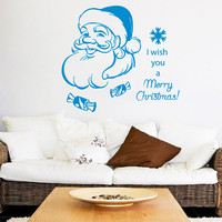 Christmas Wall Decal Quote I Wish You a Merry Christmas Decal Holiday Santa Claus Vinyl Stickers Home Decor Living Rooom Design Interior KI8