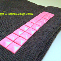 FREE SHIPPING--Studded Beanie Hat--Gray Hat with Baby Pink Studs