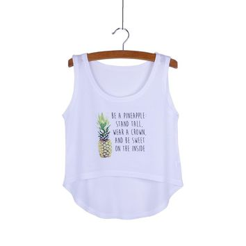 Be a Pineapple Stand Tall Wear a Crown and Be Sweet on the Inside Crop Top