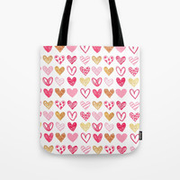 Doodle Hearts Tote Bag by All Is One