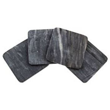 Thirstystone Square Black Marble Coasters Set of 4