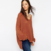 Deep V-Neck Long Sleeves Asymmetric Hem  Knitted Sweater in Light Tan