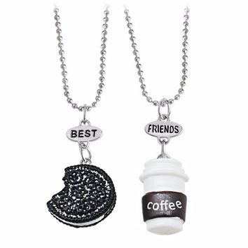 2 Pcs/Set Best Friends Pendant Bead Chain Necklace Fastfood Coffee Cup Oreo Glitter Biscuit Kids Jewelry Boys Girls Gift