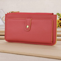 Candy Color Zip and Clutch Leather Wallet
