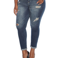 Plus-Size Distressed Jeans - Rainbow