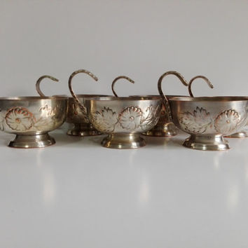 six cups engraved decoration flowers on silver metal, french vintage