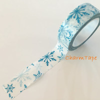 Festive Washi tape 15mm - Blue snowflake 10 meters  WT735
