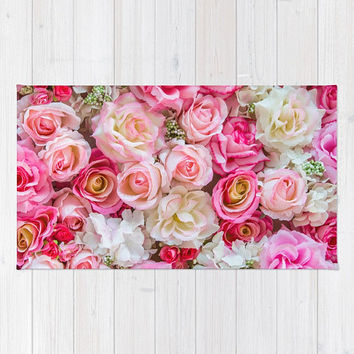 Pink Red Flower Bouquet Rug, Pink Roses Rug, Floral Rug, Blush Pink Area Rug, Dorm Room Bedroom Rug, Pink Apartment Decor, Polyester Rug